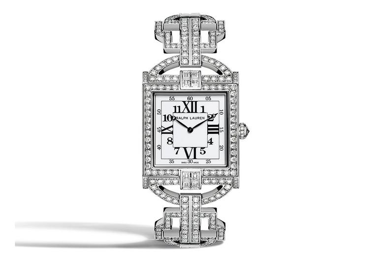 The off-white lacquered dial of the RL 867 Diamond Timepiece juxtaposes Roman and Arabic numerals