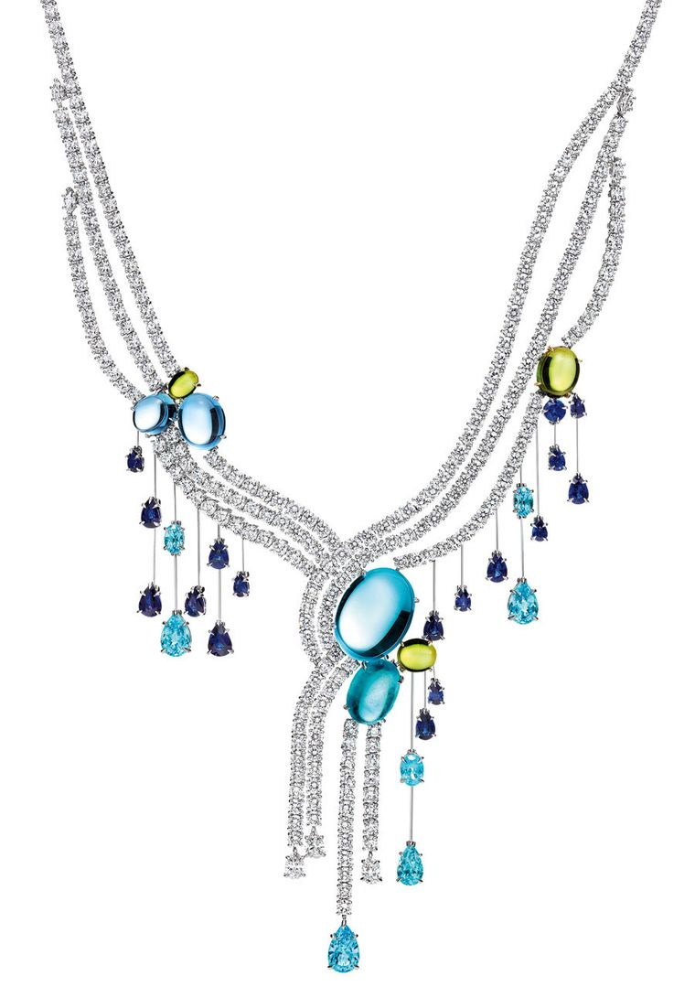 Harry Winston Water collection cabochon Fall necklace, presented at the Biennale des Antiquaires 2012