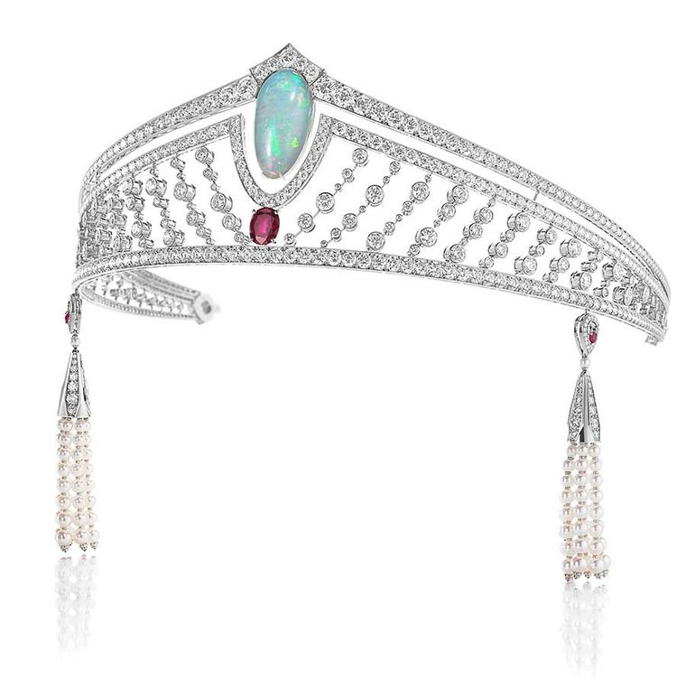 Chaumet's 12 Vendome opal tiara featuring emeralds, sapphires, rubies, purple jade and spinels surrounding a central opal.