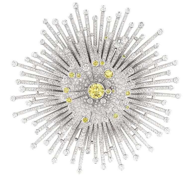 Inspired by the 1932 exhibition, Chanel's 'Soleil' white gold brooch features 1,765 brilliant-cut diamonds (8.7ct) and 16 brilliant-cut yellow diamonds.