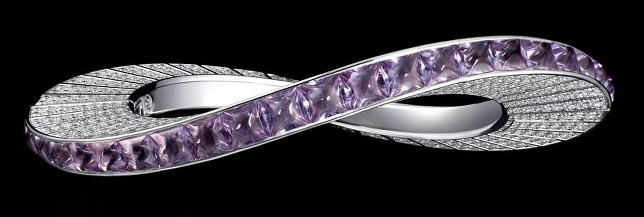 Cartier Biennale white gold Bracelet featuring lavender amethyst and diamonds. Image by: Vincent Wulveryck © Cartier 2012