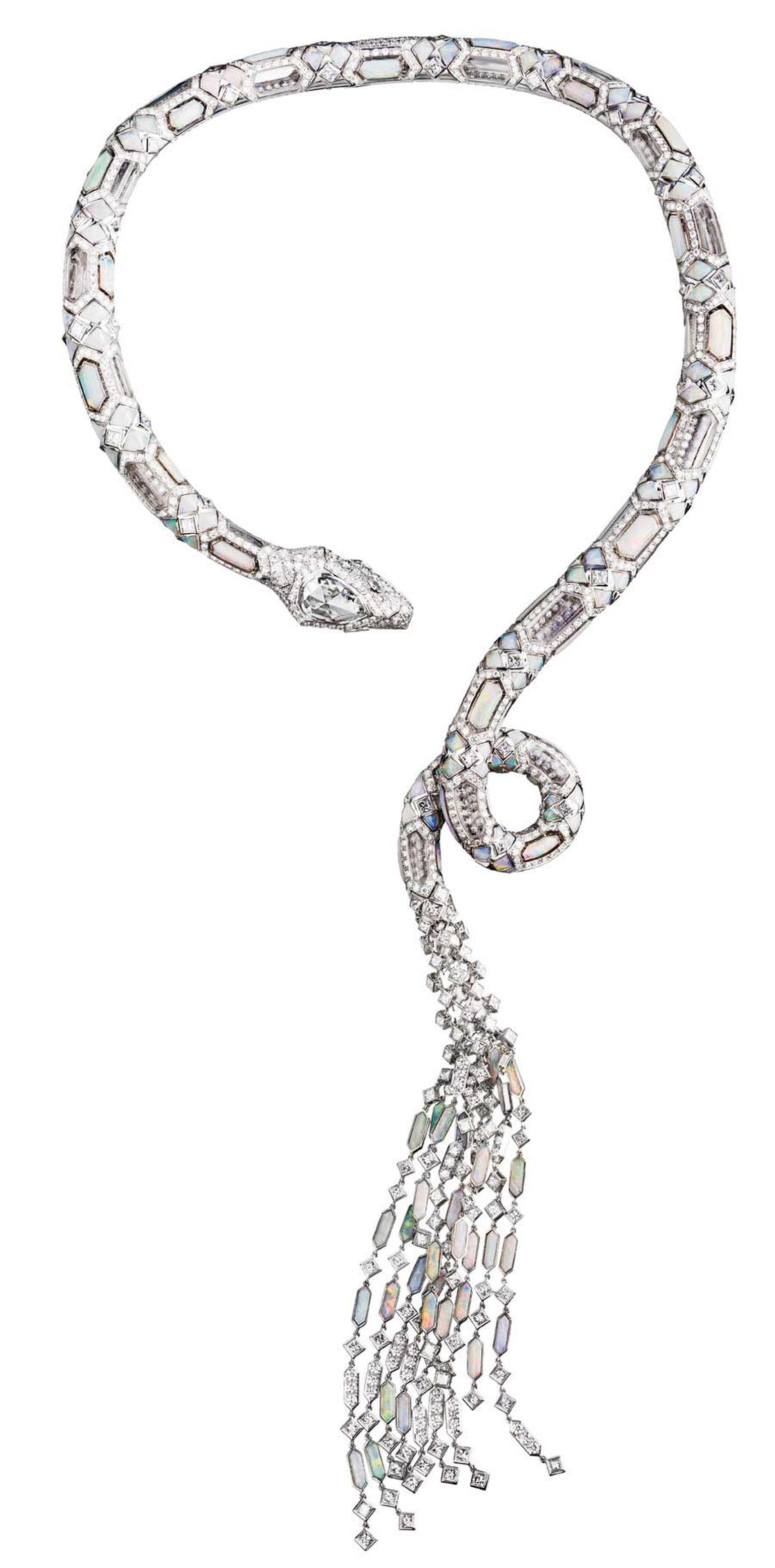 Boucheron Serpent diamond, opal and rock crystal necklace.