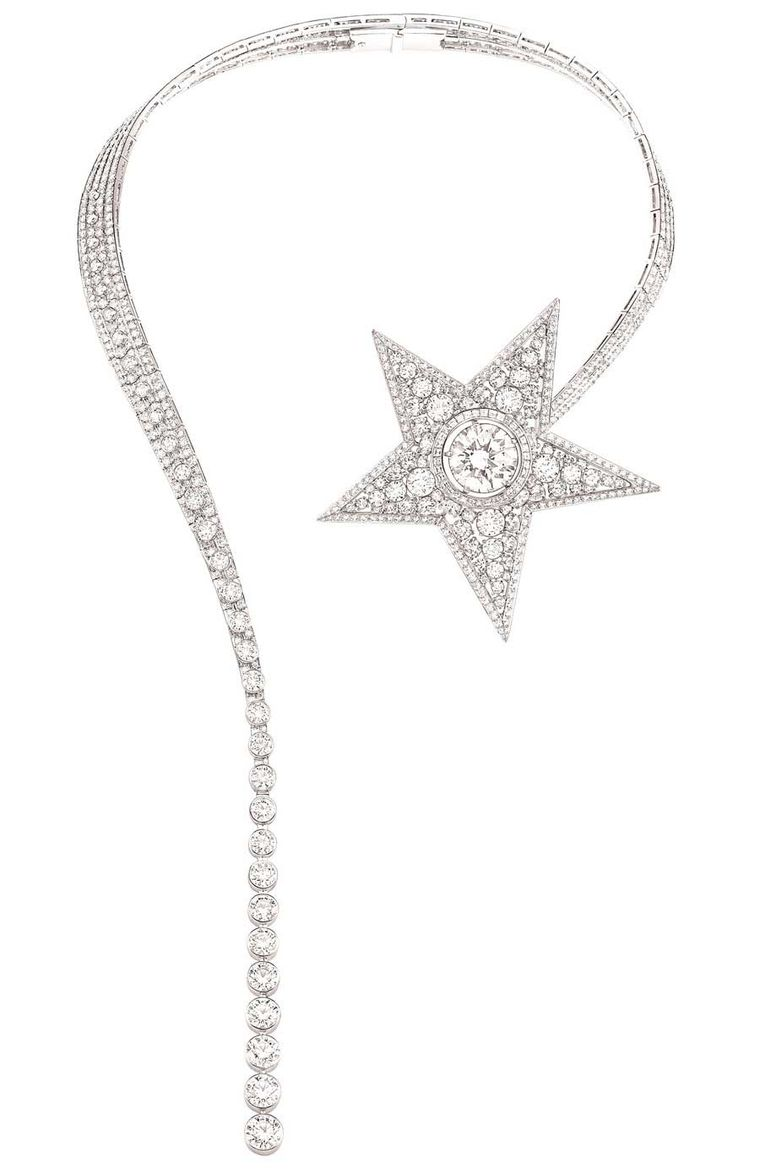 Chanel white gold Comete necklace featuring around-cut diamonds (14.8ct), 823 round-cut diamonds (61ct) and 34 princess-cut diamonds.
