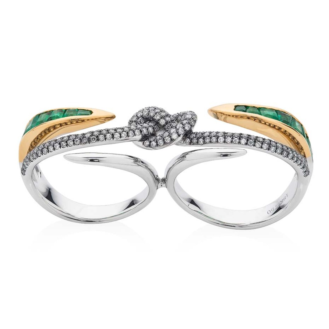 Leyla Abdollahi Lust & Lure collection emerald ring in yellow and white gold, held together by a diamond-encrusted knot