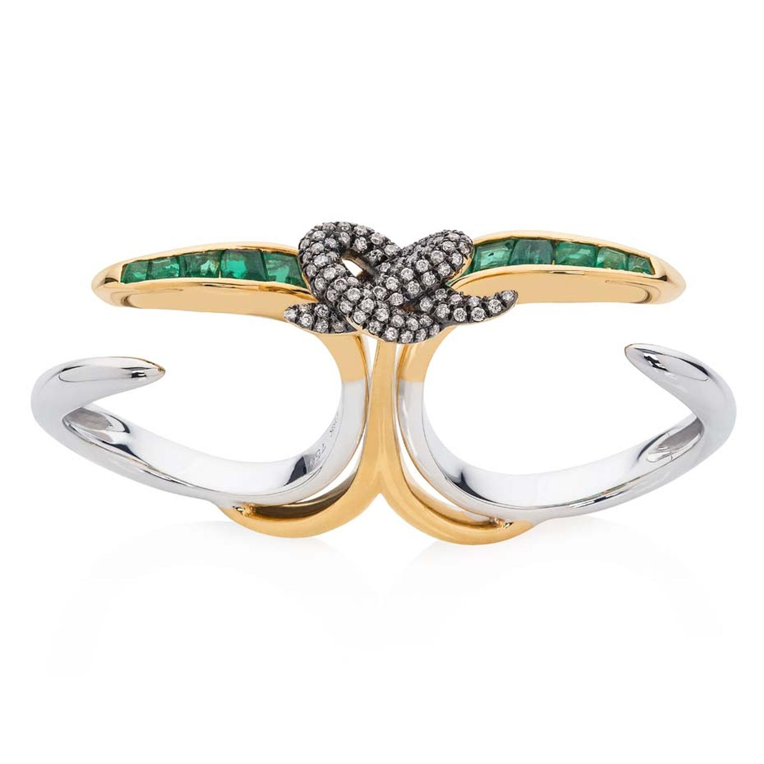 Leyla Abdollahi Lust & Lure collection ring in white and yellow gold with emeralds and diamonds