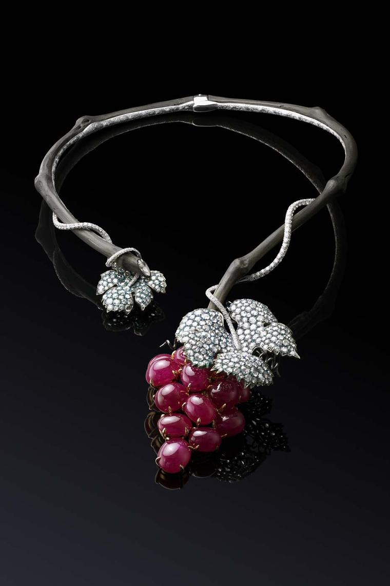Why Not Sky gold Grape necklace featuring carbonium, titanium, diamonds and antique burmese rubies.