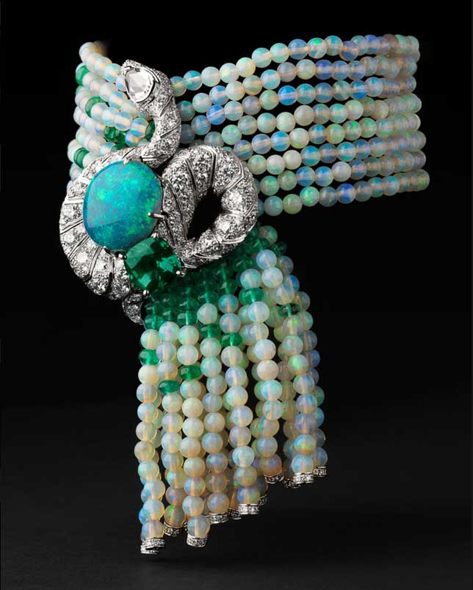 Cartier Luxuriant bracelet in platinum with one 8.02ct opal, one 3.43ct chrysoberyl, one rose-cut diamond, opal beads, emerald beads, emerald eyes and brilliant diamonds
