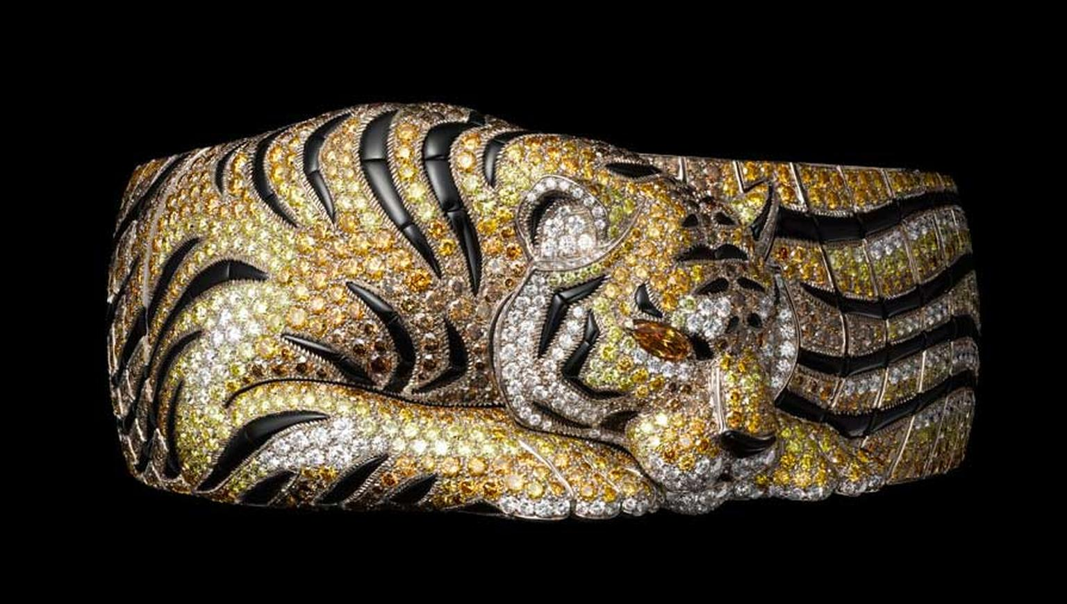 Cartier Solar tiger bracelet in white gold with brown, orange and yellow diamonds, onyx, yellow-orange diamond eyes, brilliants