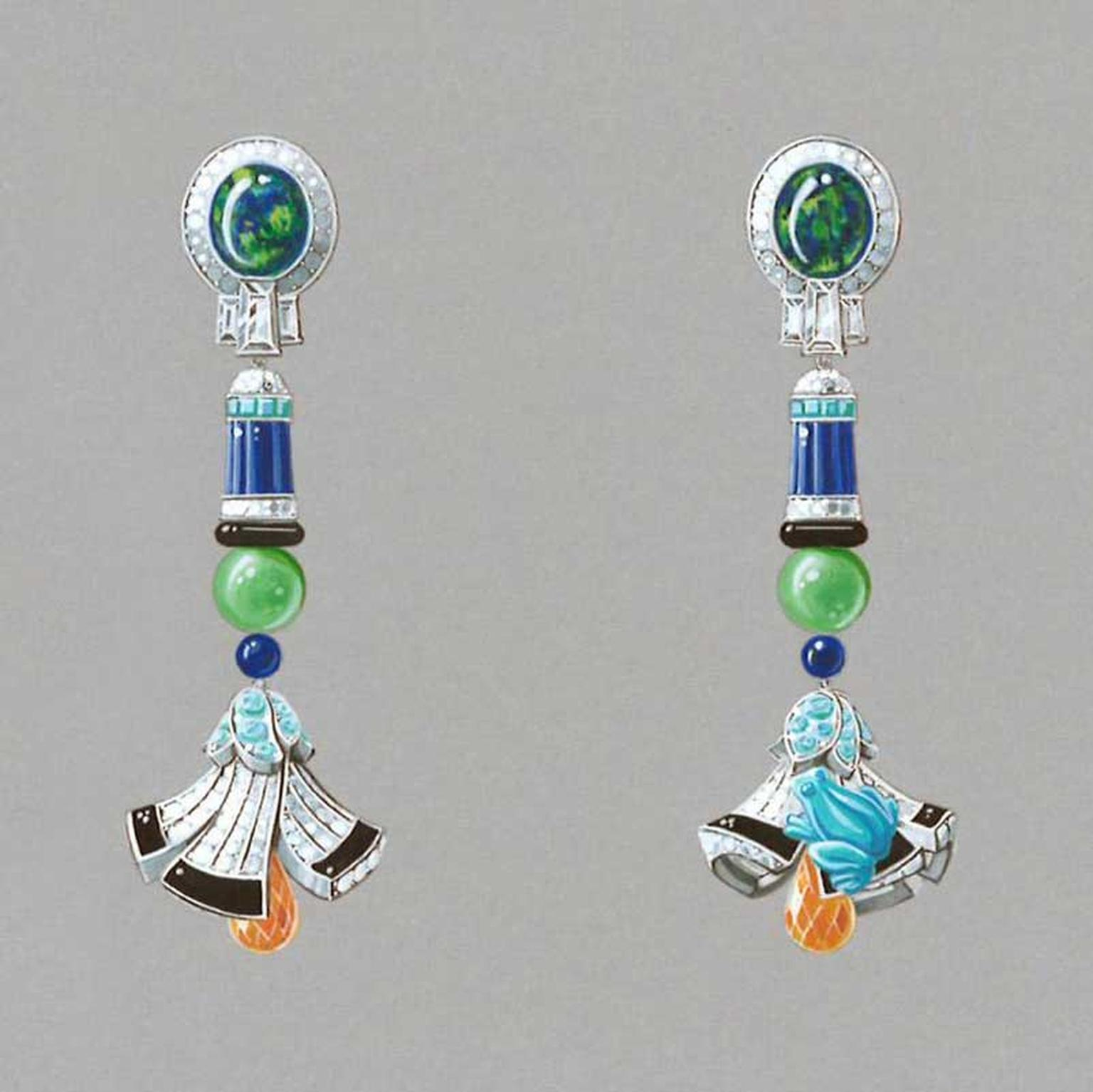 Van Cleef & Arpels Palais de la chance High Jewellery collection Lucky Legends, Everlasting Light long earrings