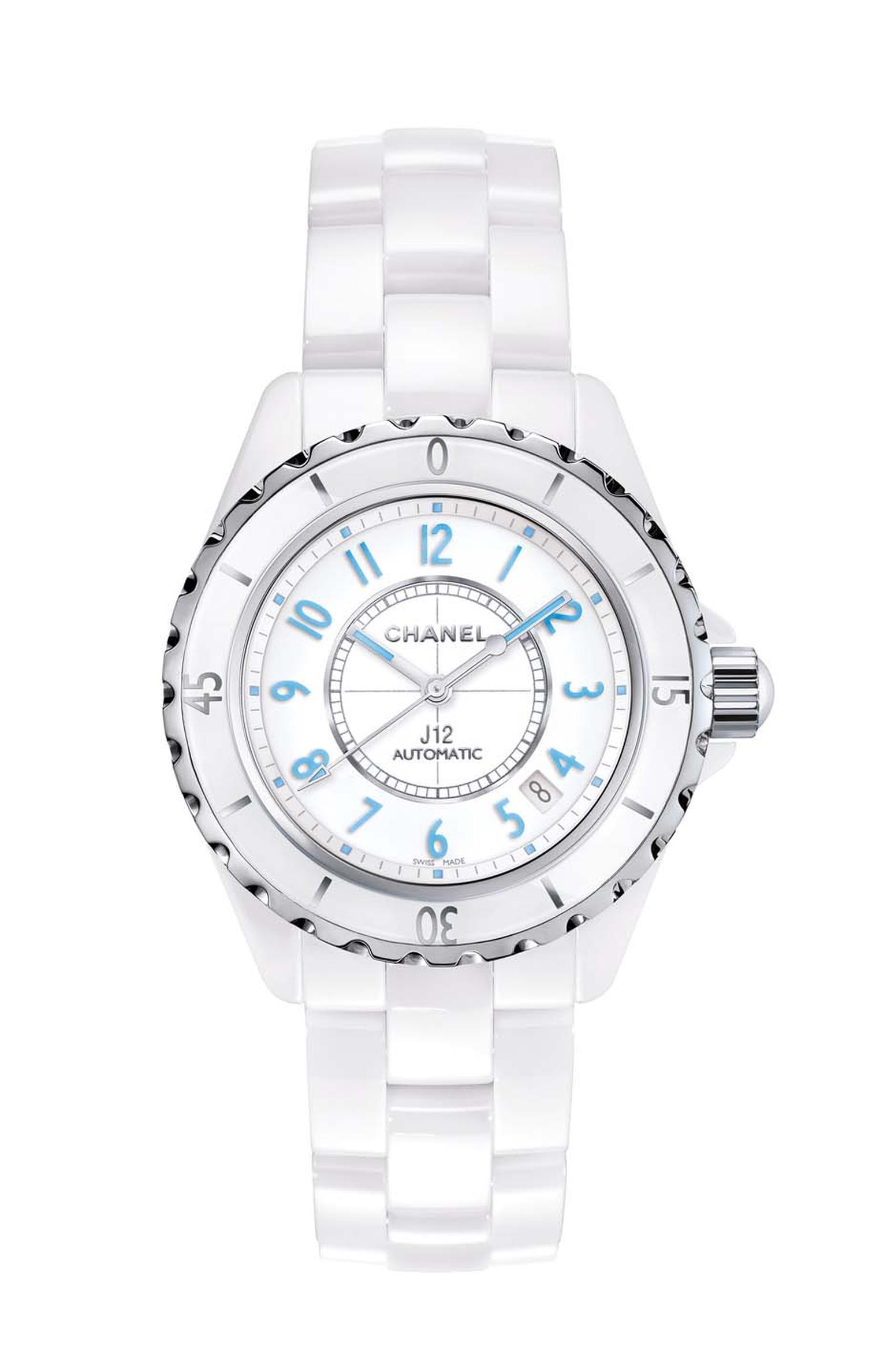 Chanel J12 Blue Light featuring a white ceramic and powder blue dial and automatic movement.