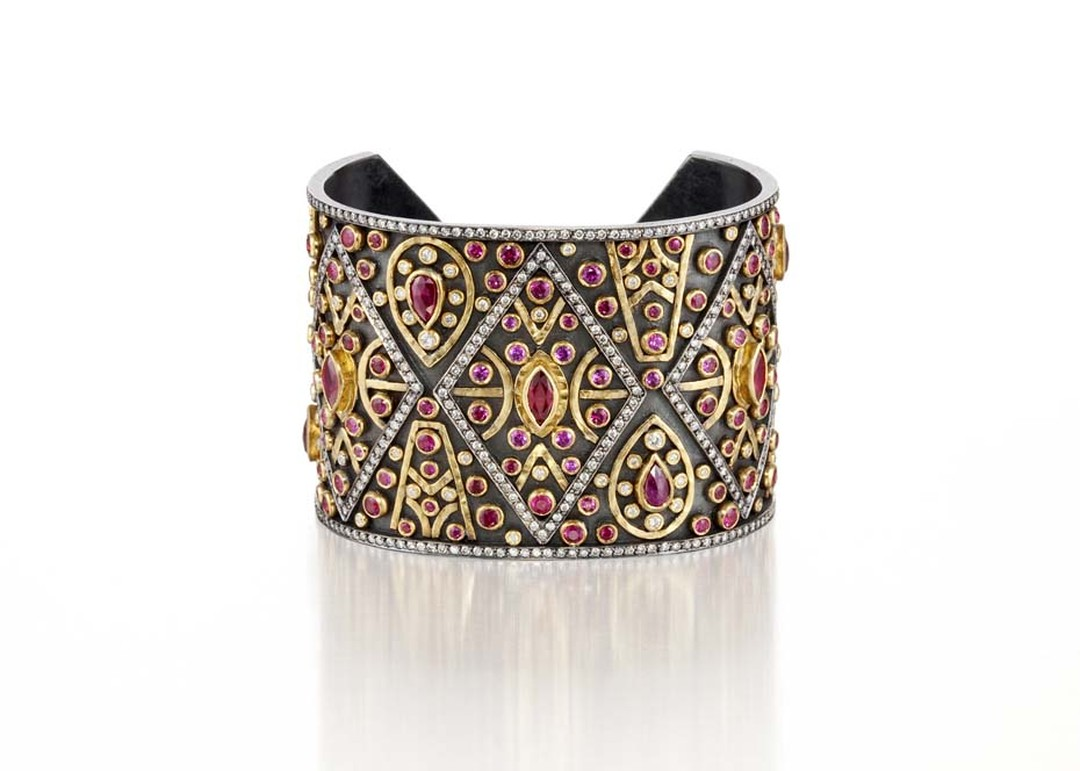Annie Fensterstock gold and blackened silver Cleopatra cuff featuring diamonds, rubies and pink sapphires.