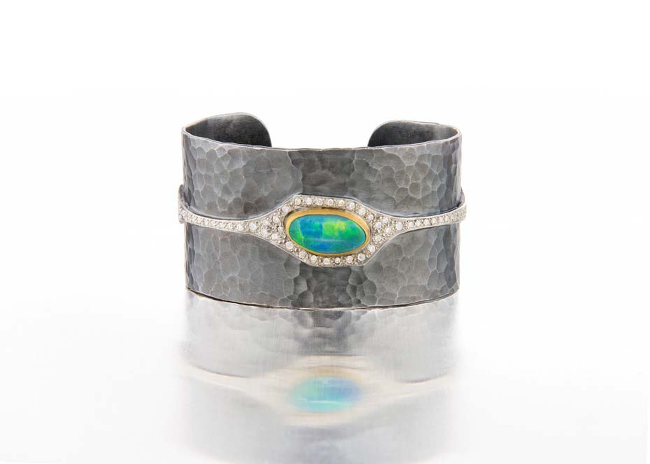 Annie Fensterstock blackened silver, white and yellow gold cuff featuring diamonds and a centre opal.
