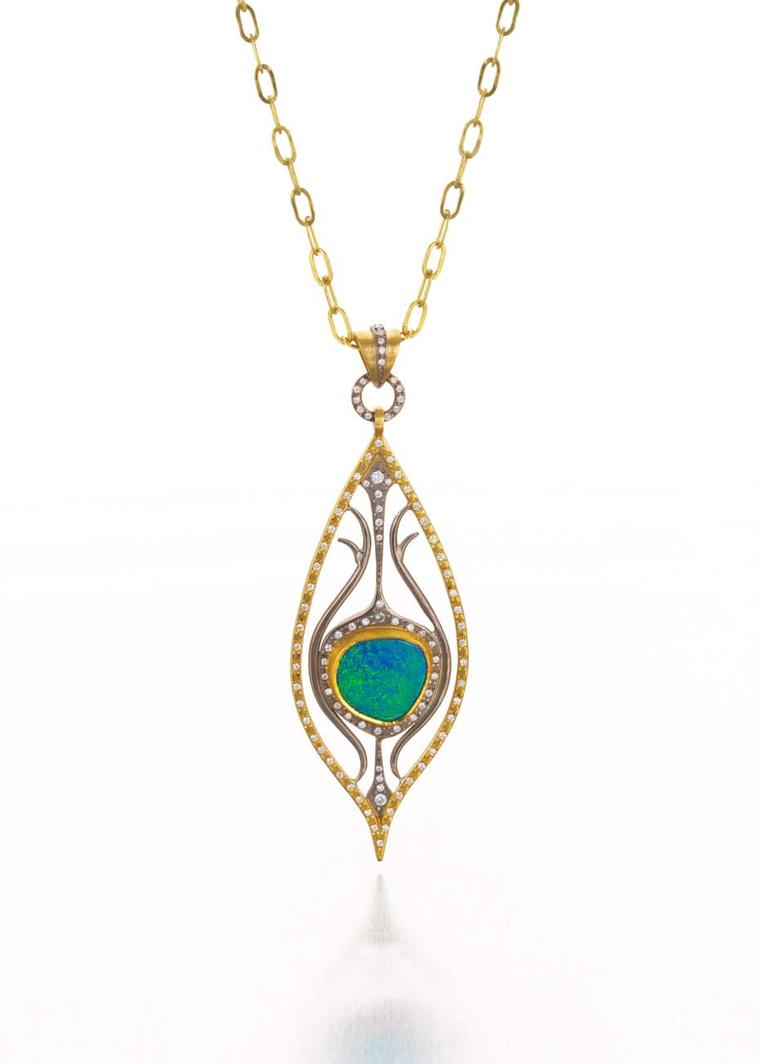 Annie Fensterstock yellow and white gold Peacock pendant featuring diamonds and a centre opal.