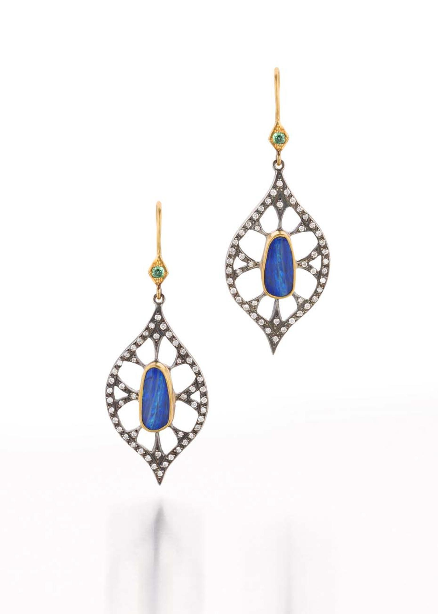 Annie Fensterstock gold and blackened silver Web earrings featuring opals and diamonds.