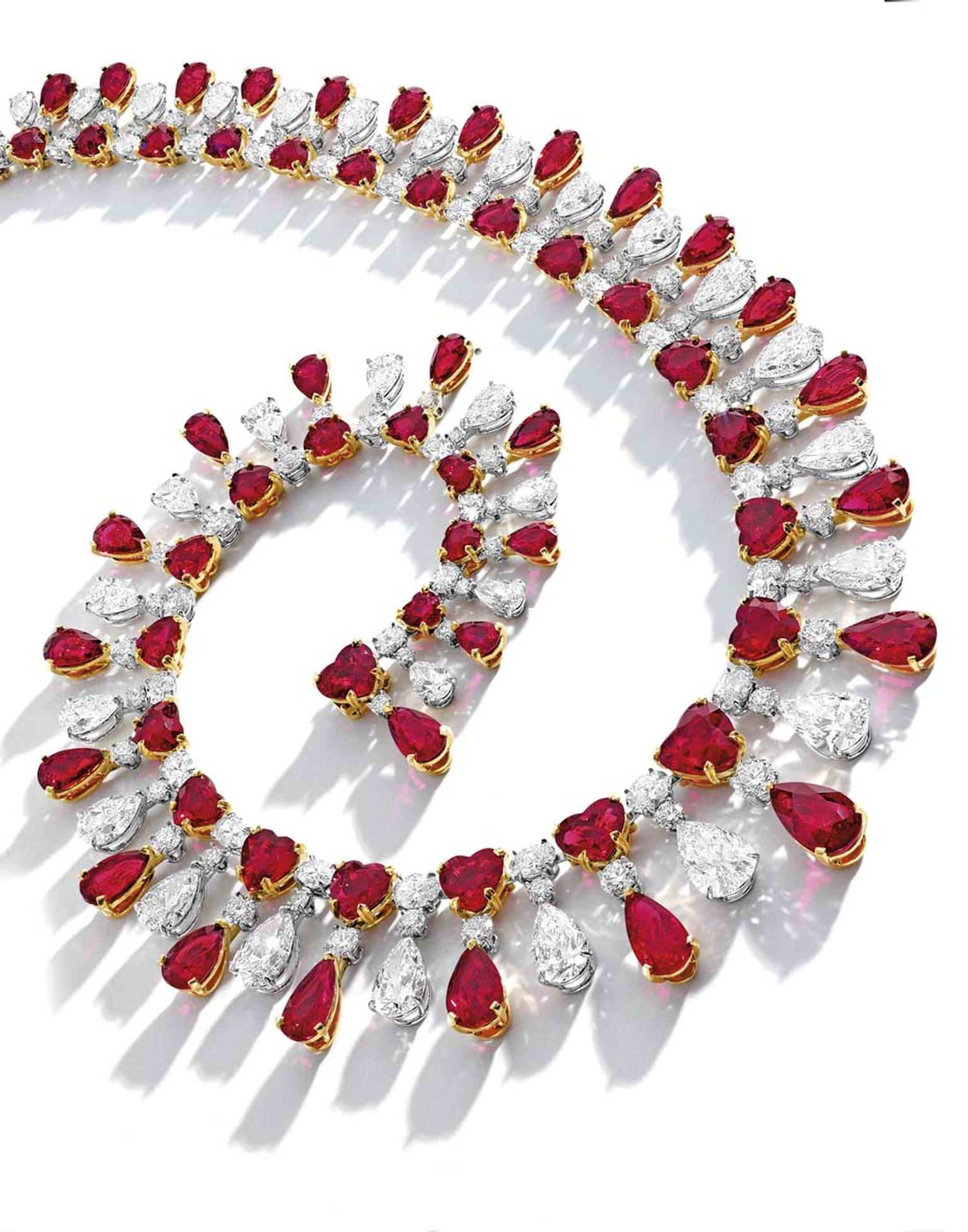 The Red Emperor necklace featuring Burmese rubies and diamonds. The rubies include fine needle-shaped inclusions, which perfectly diffuse light and is further enhanced by brilliant-cut, pear-shaped and oval diamonds. Sold at Sotheby's Hong Kong for US$9,9