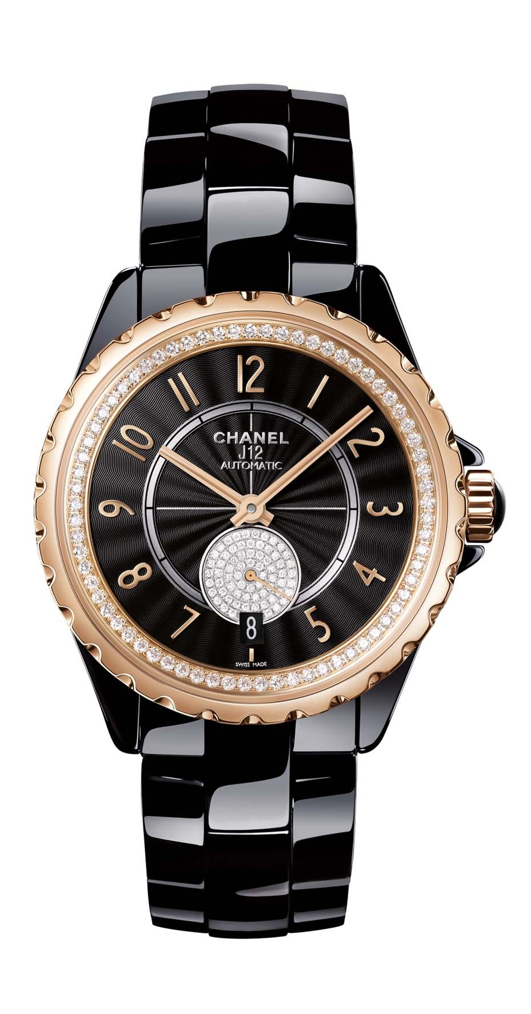 Chanel J12-365 black high-tech ceramic watch featuring beige gold, an alloy exclusive to Chanel as well as a Guilloche´-finished black dial and and diamonds within the inner bezel and small seconds.