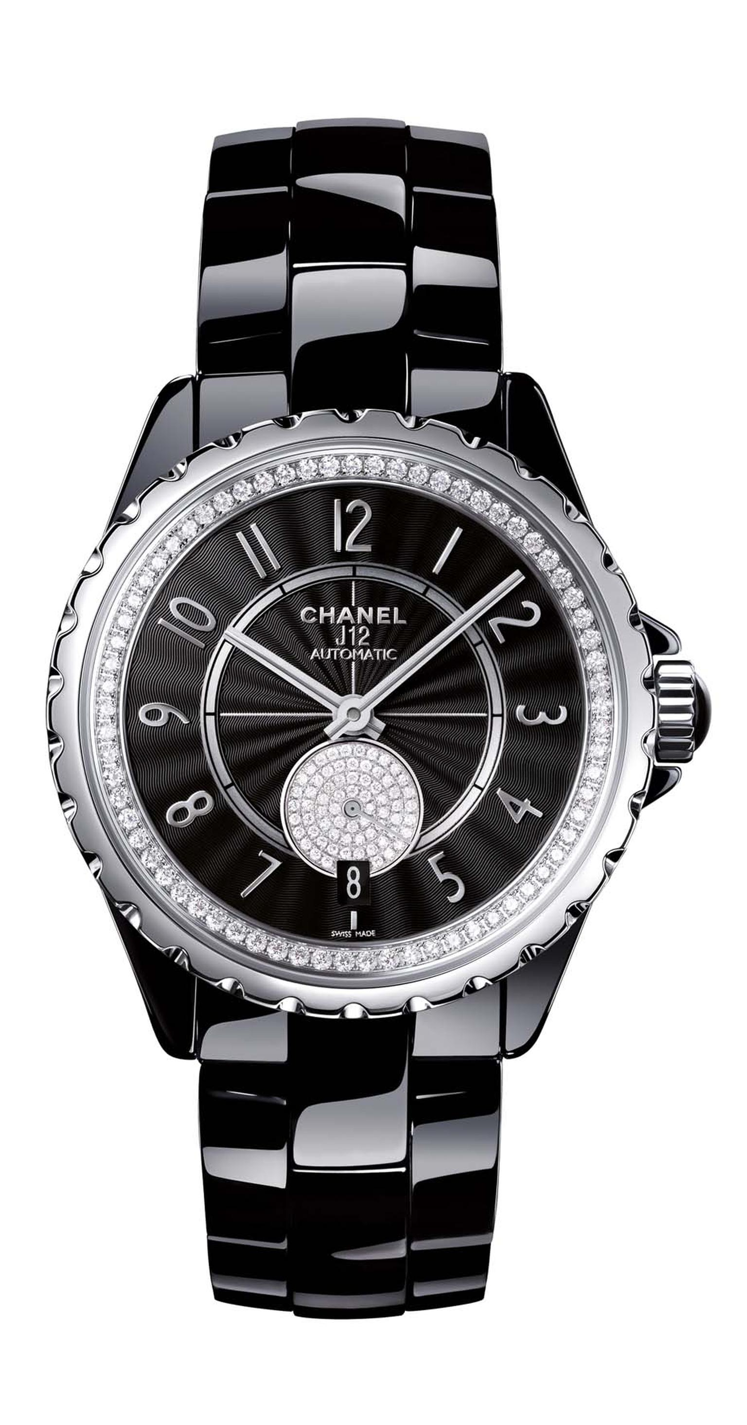 Chanel J12-365 stainless steel watch in black high-tech ceramic featuring a Guilloche´-finished black dial and diamonds within the inner bezel and small seconds.