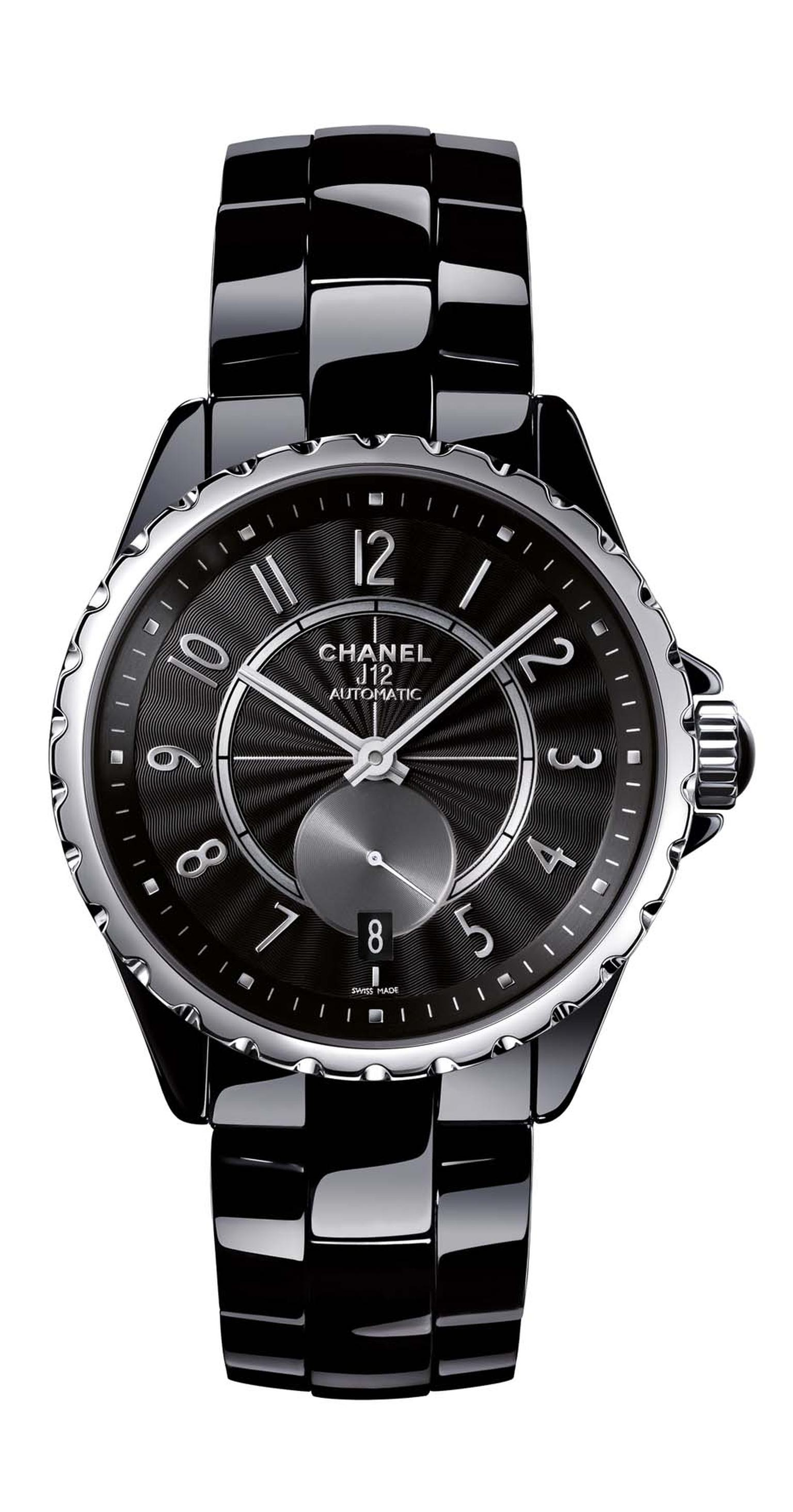 Chanel J12-365 black high-tech ceramic watch featuring a self-winding mechanical movement and A 42-hour power reserve.