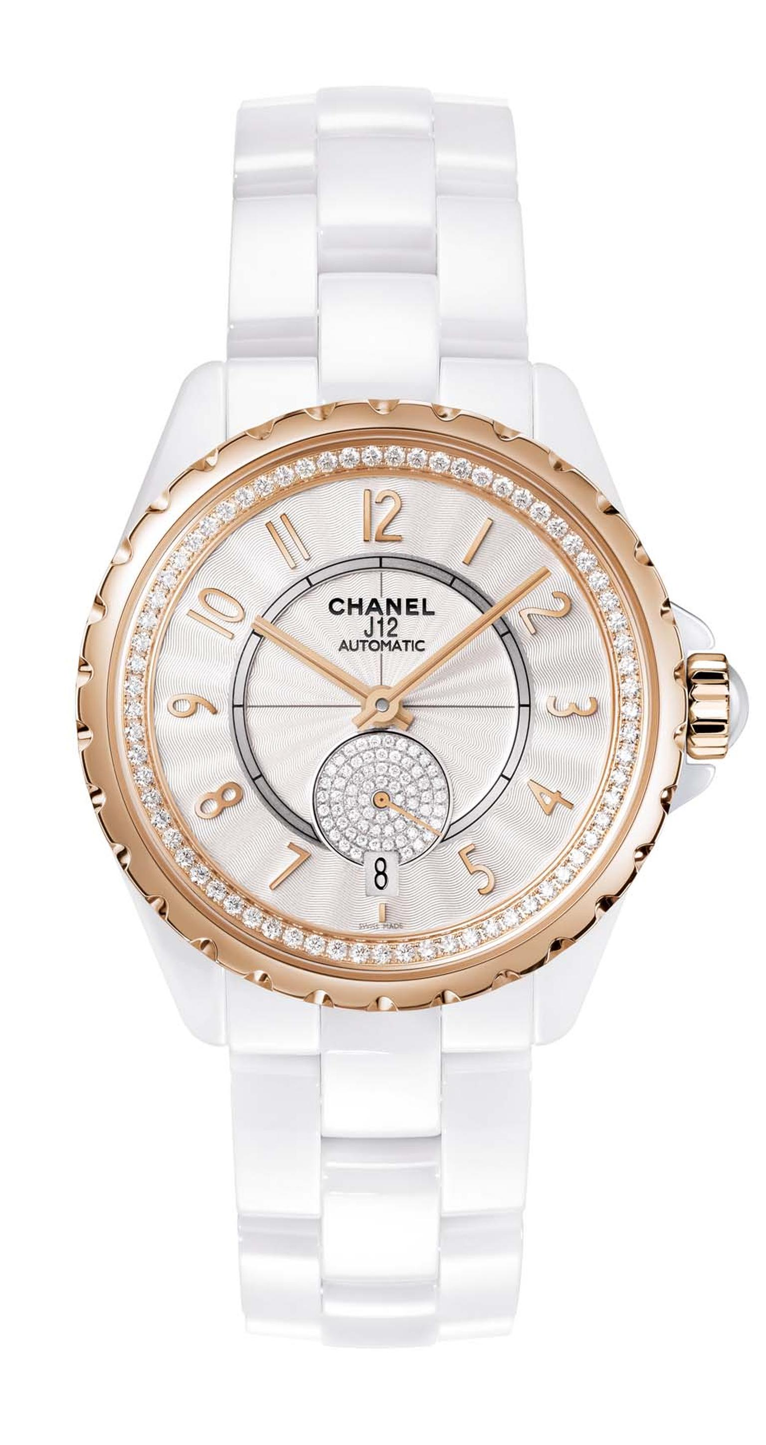 Chanel J12-365 white high-tech ceramic watch featuring beige gold, an alloy exclusive to Chanel as well as a Guilloche´-finished white dial and diamonds within the inner bezel and small seconds.