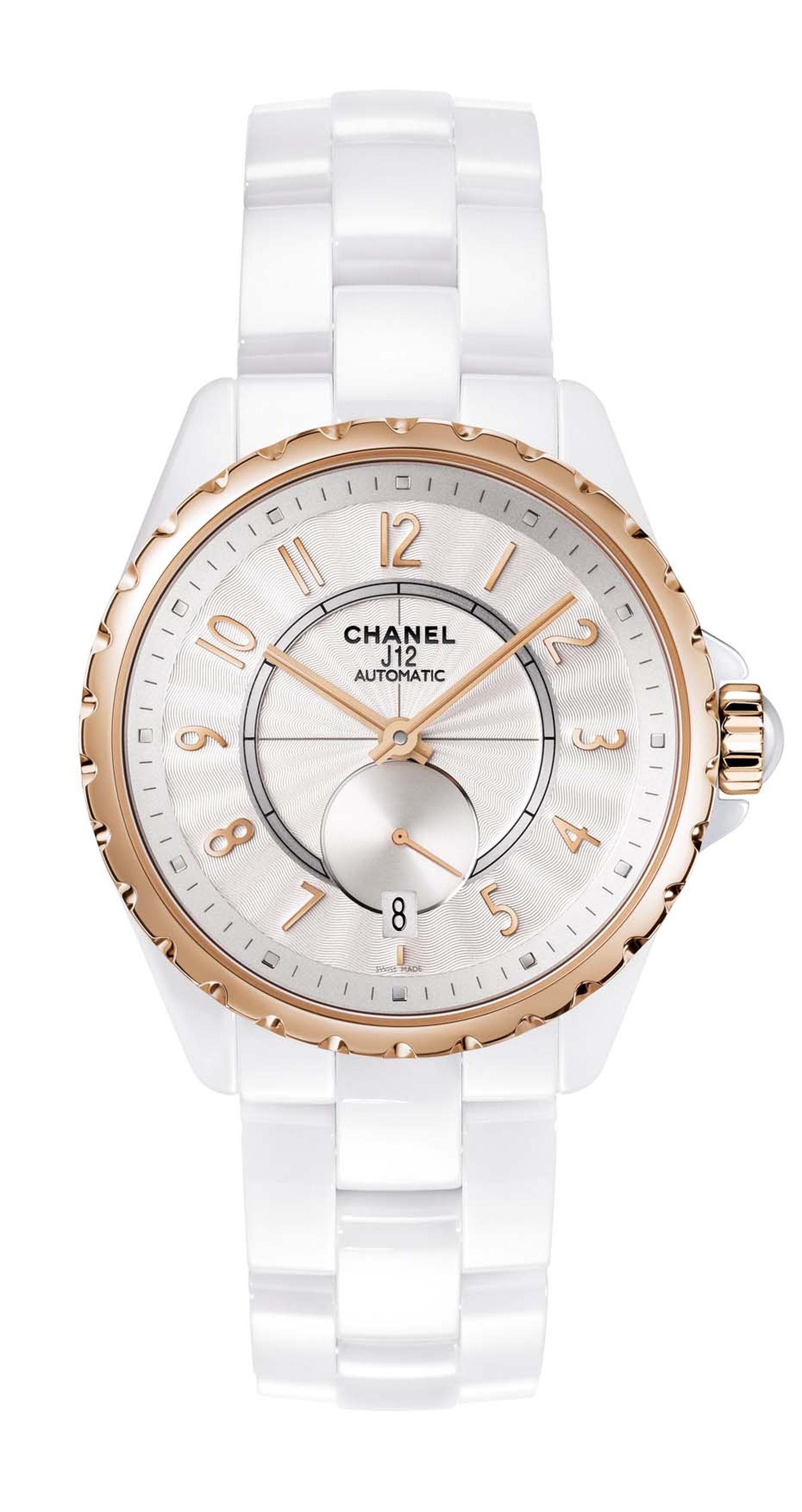 Chanel J12-365 white high-tech ceramic watch featuring beige gold, an alloy exclusive to Chanel, as well as a Guilloche´-finished opaline dial.