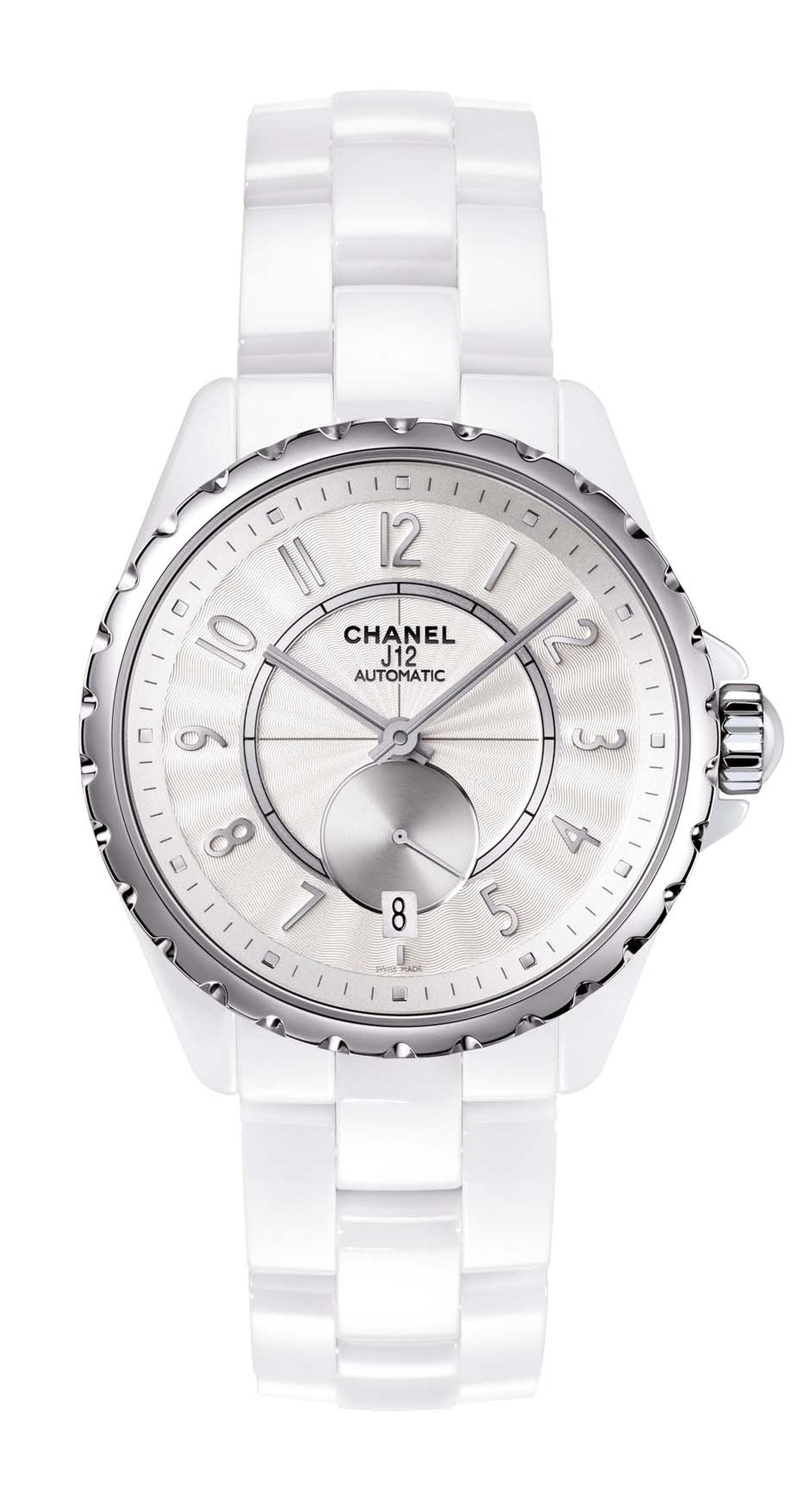 Chanel J12-365 steel watch in white high-tech ceramic featuring a Guilloche´-finished opaline dial.