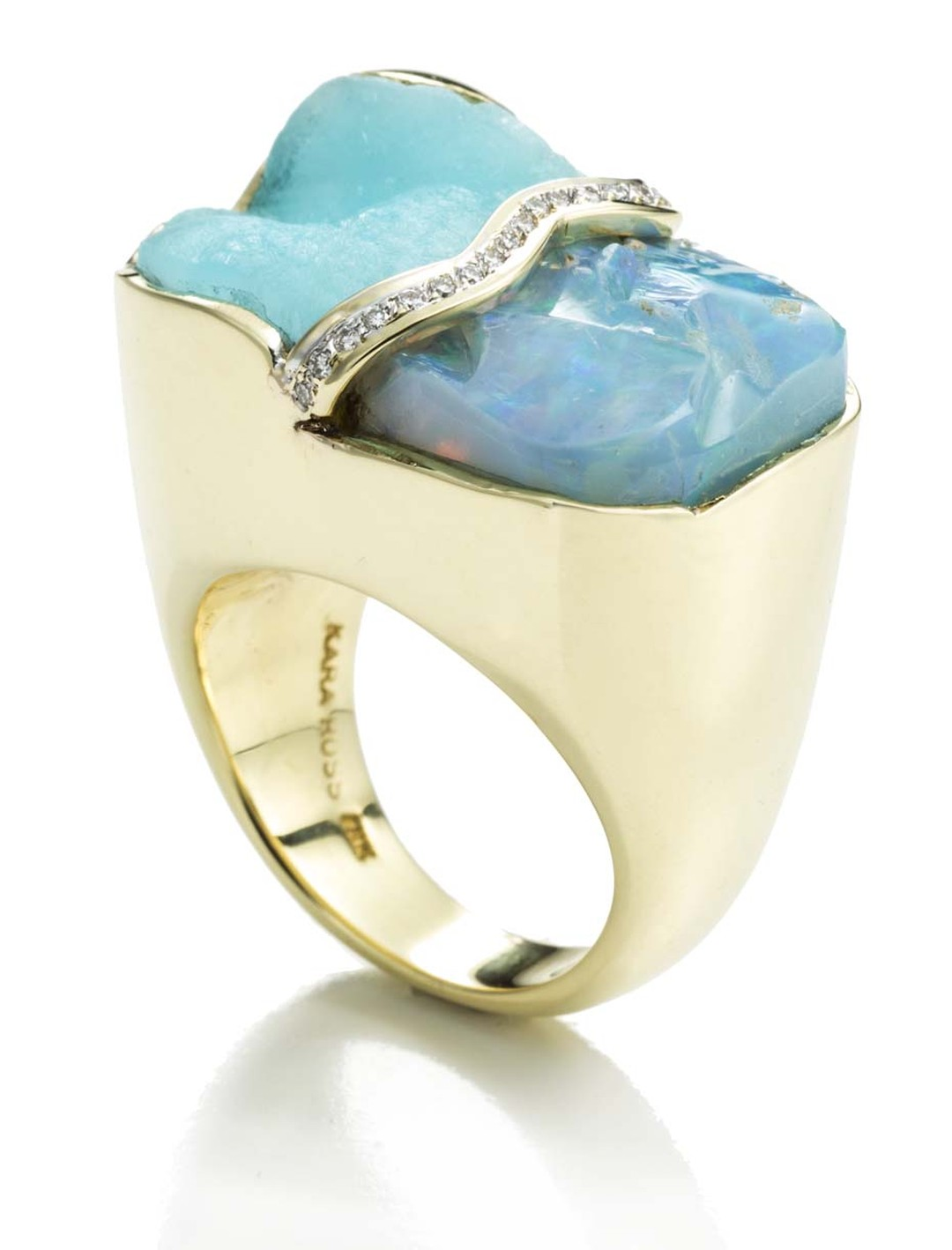 Kara Ross Petra Split ring featuring raw blue opal alongside a raw hemimorphite divided by pavé diamonds set in gold
