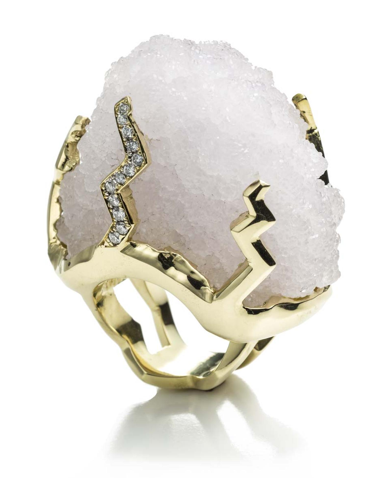 Kara Ross Petra raw white quartz ring with diamonds set in gold