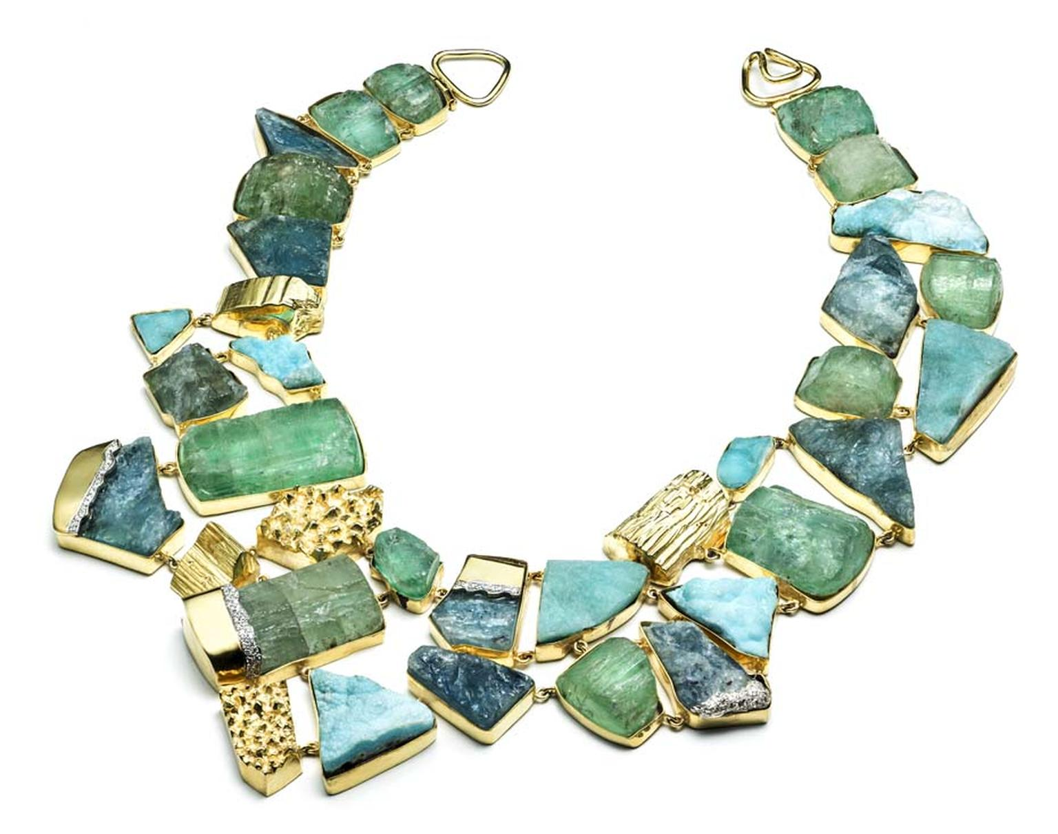 Kara Ross Petra Bib necklace with raw green beryl, hemimorphite, aquamarine and diamonds set in gold
