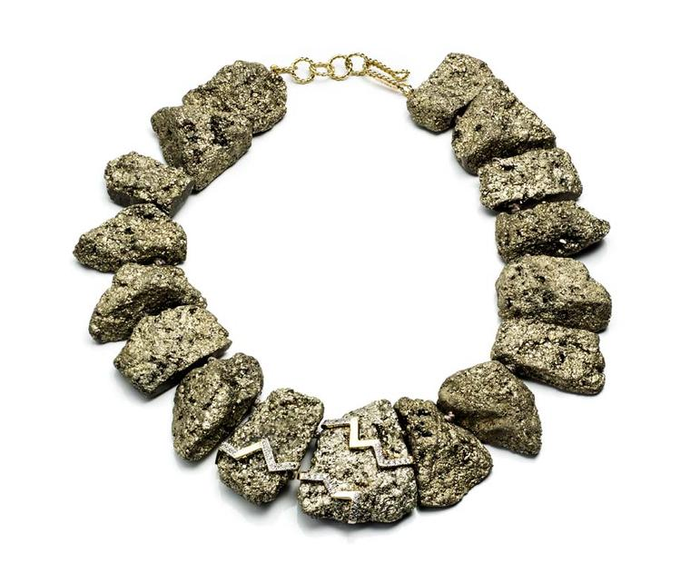 Kara Ross Petra necklace featuring pyrite in gold
