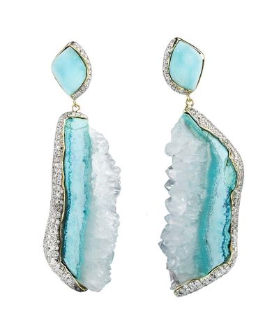 Kara Ross Petra earrings featuring raw hemimorphite