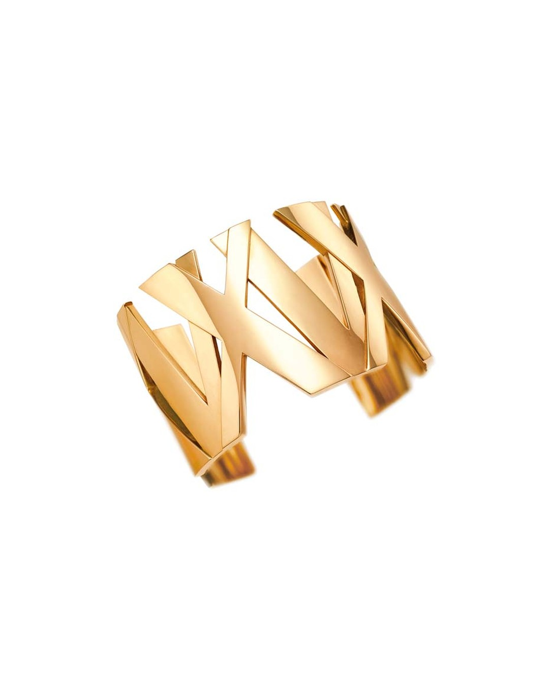 Tiffany & Co. Atlas II collection yellow gold wide bangle featuring a weave of roman numerals.