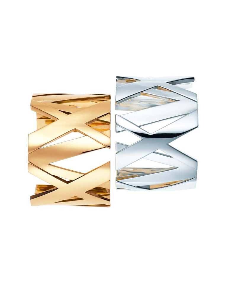 Tiffany & Co's Atlas II wide bangles feature the iconic roman numerals that are a recurring motif throughout Tiffany's Atlas collections