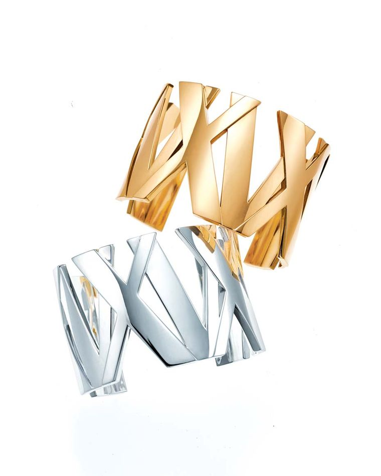 Tiffany & Co. Atlas II collection wide cuffs are available in yellow, rose or white gold as well as sterling silver and titanium