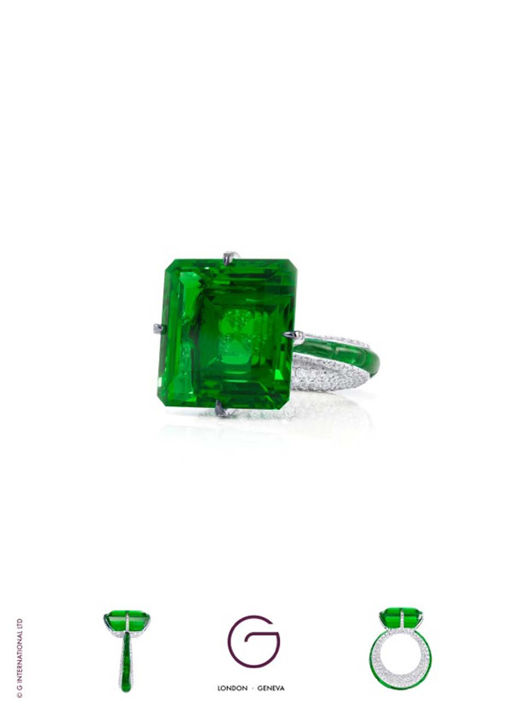 Dromoland Castle, paired with Glenn Spiro's 23.05ct emerald and diamond ring (£POA at ginternational.co.uk)