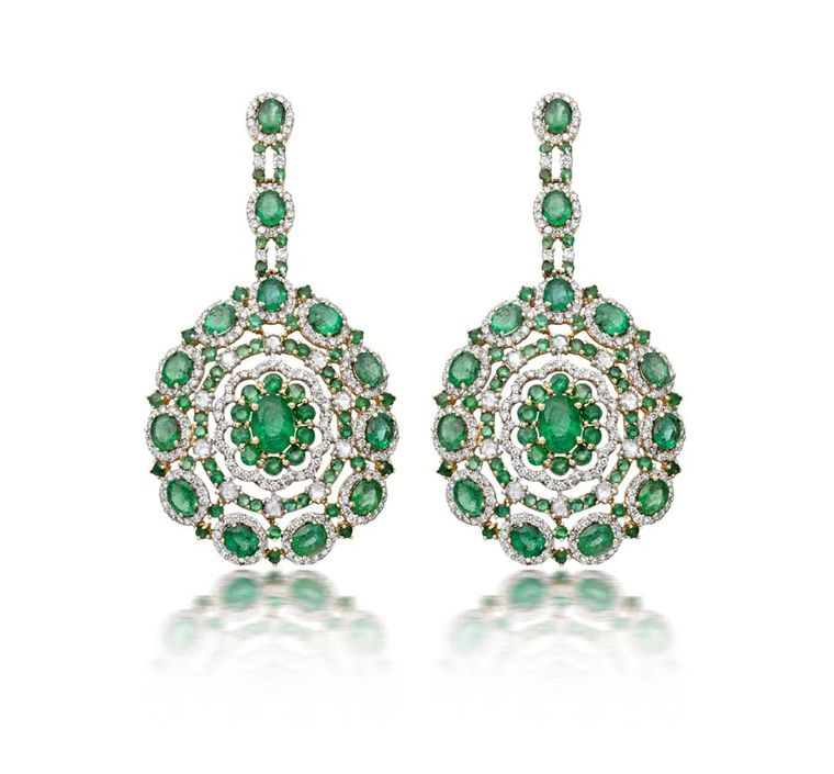 Amrapali gold Floral earrings featuring Zambian emeralds and diamonds
