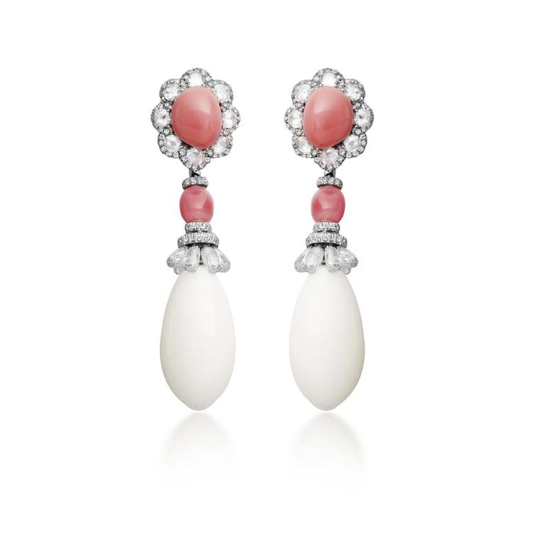 Amrapali earrings featuring diamonds, conch pearls and pearls