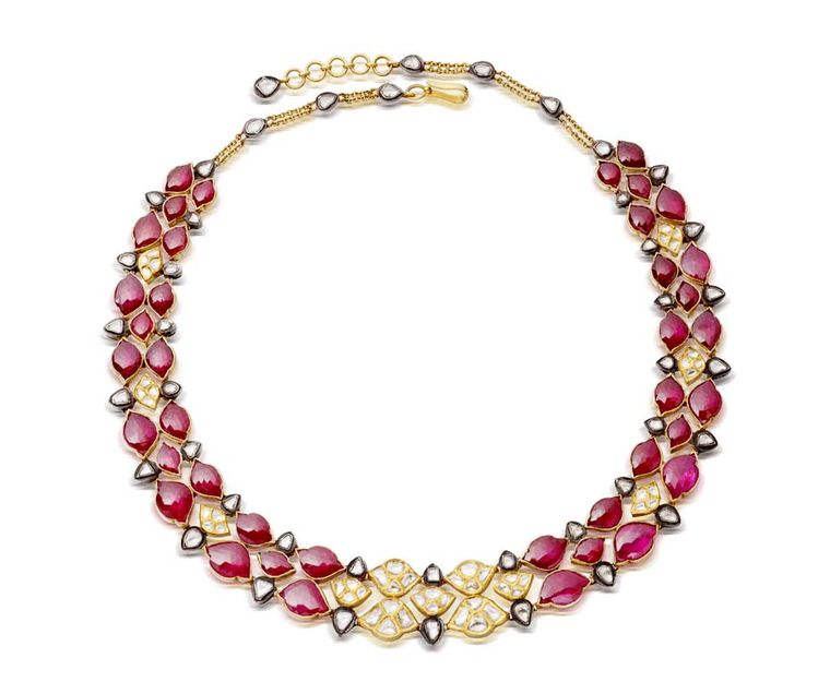 Amrapali gold necklace featuring rubies, diamonds and pearls
