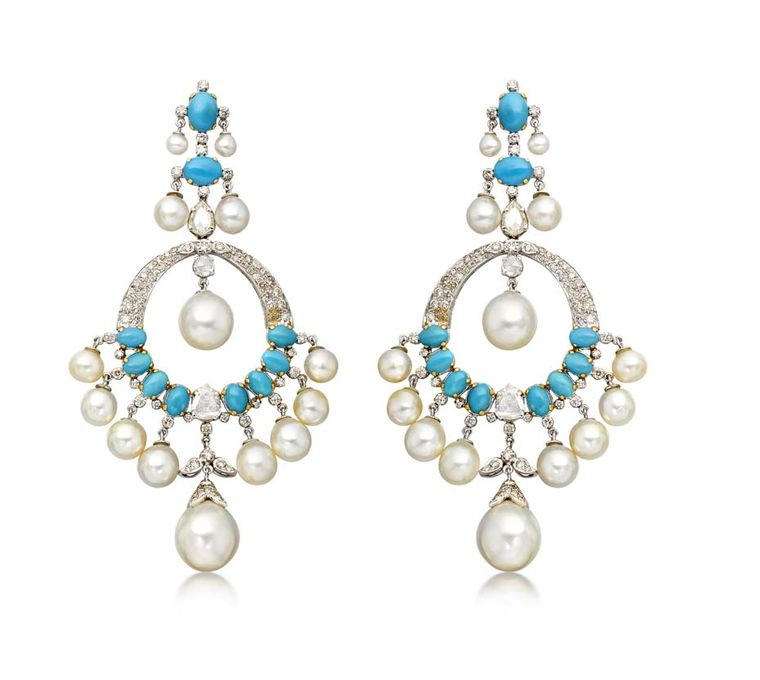Amrapali earrings featuring pearls, turquoise and diamonds