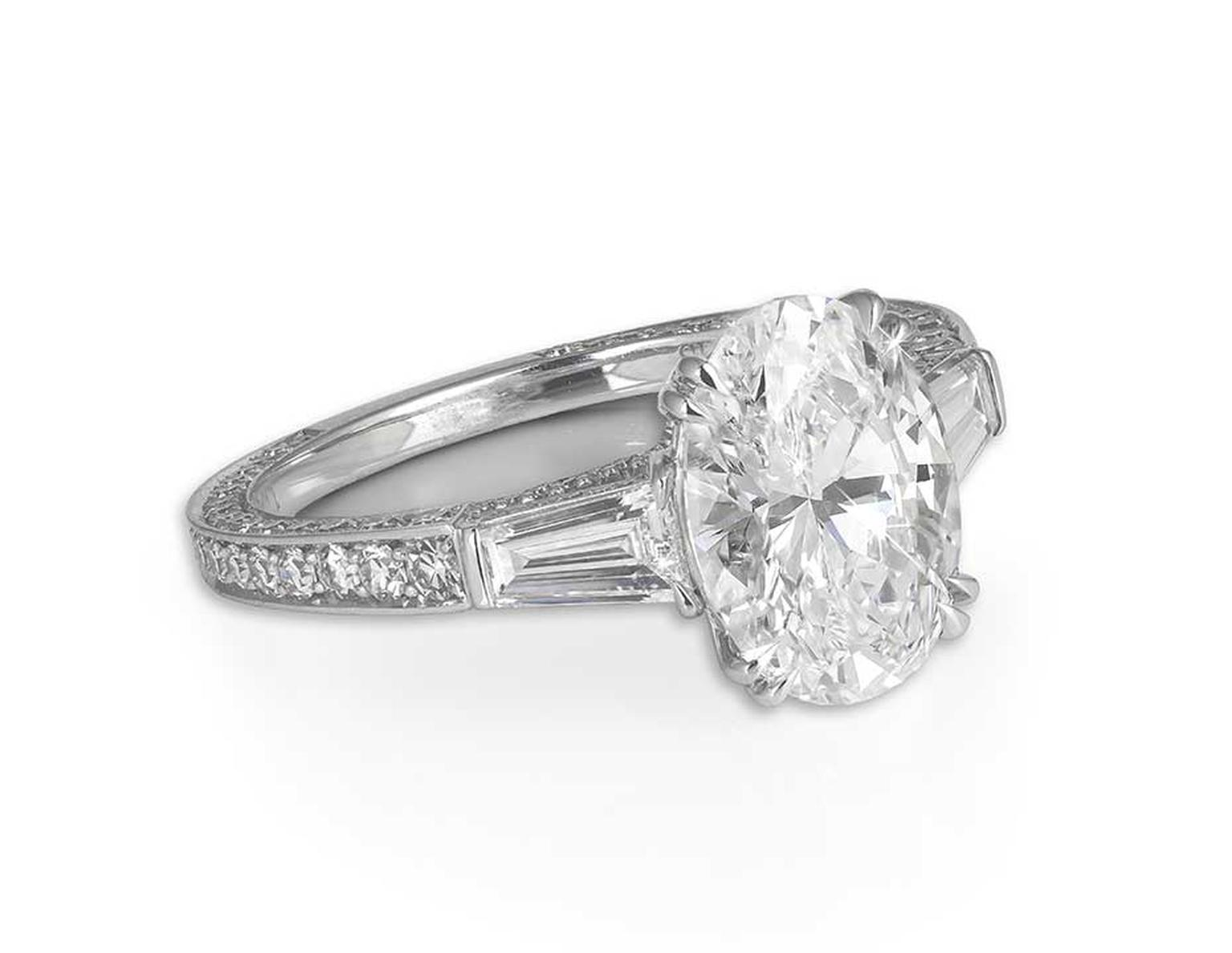 301170 events service, paired with David Morris' oval and baguette-cut diamond engagement ring