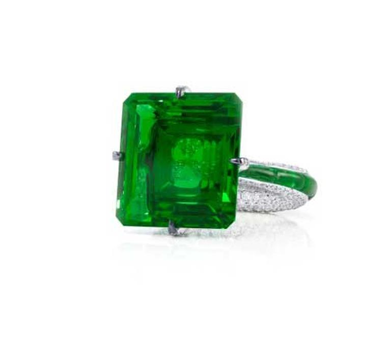Glenn Spiro's 23.05ct emerald and diamond engagement ring