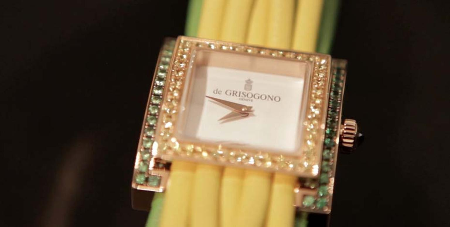 De Grisogono Allegra collection watch with a canary yellow multi-strand leather bracelet