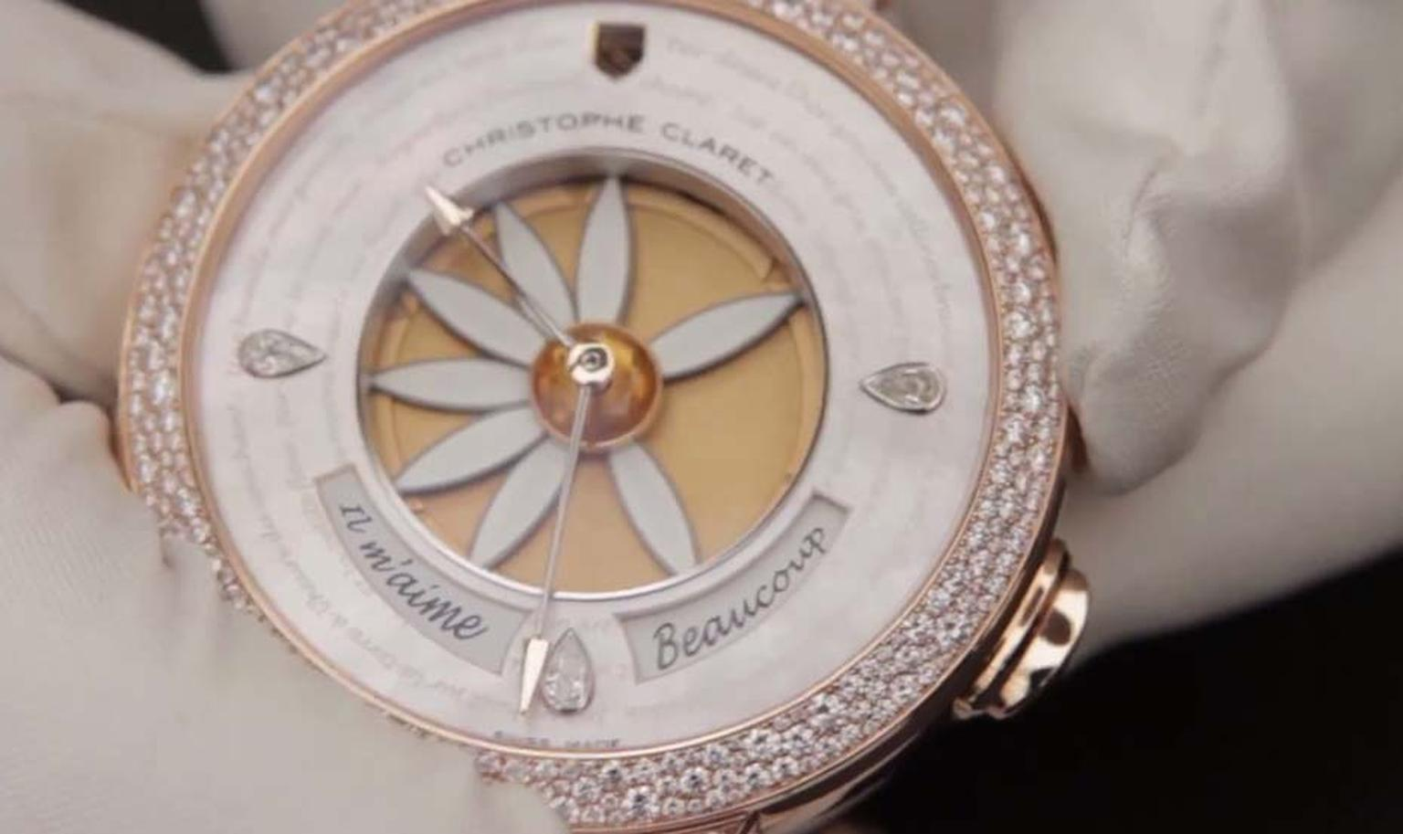 Christophe Claret Margot watch spells out whether he loves you, or loves you not, in petals