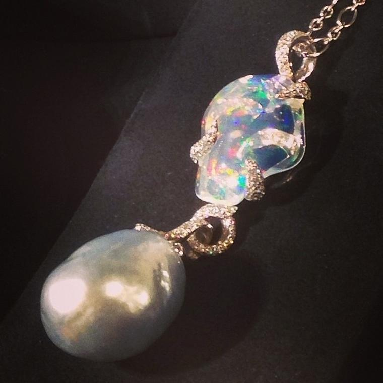 Mikimoto pearl and white opal pendant