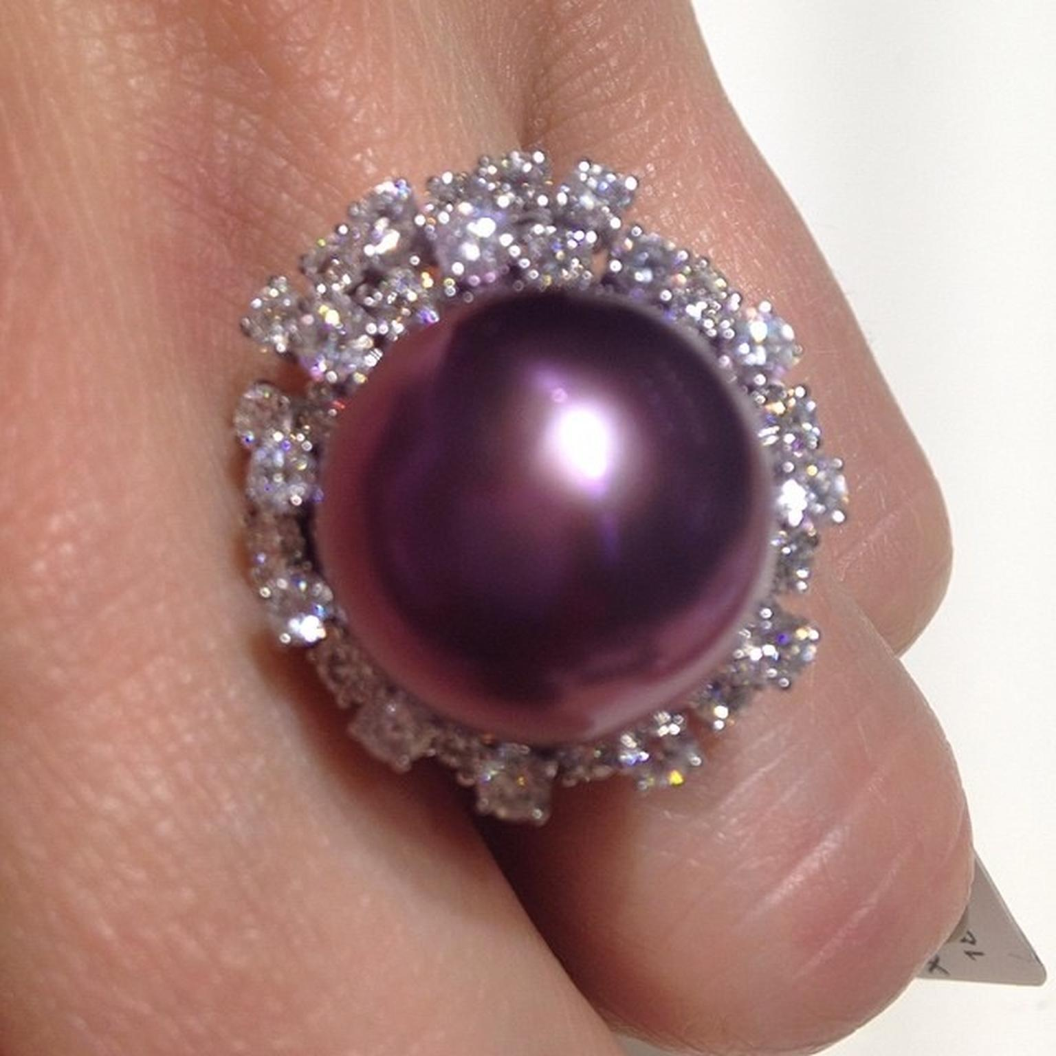Yoko London pearl and diamond ring