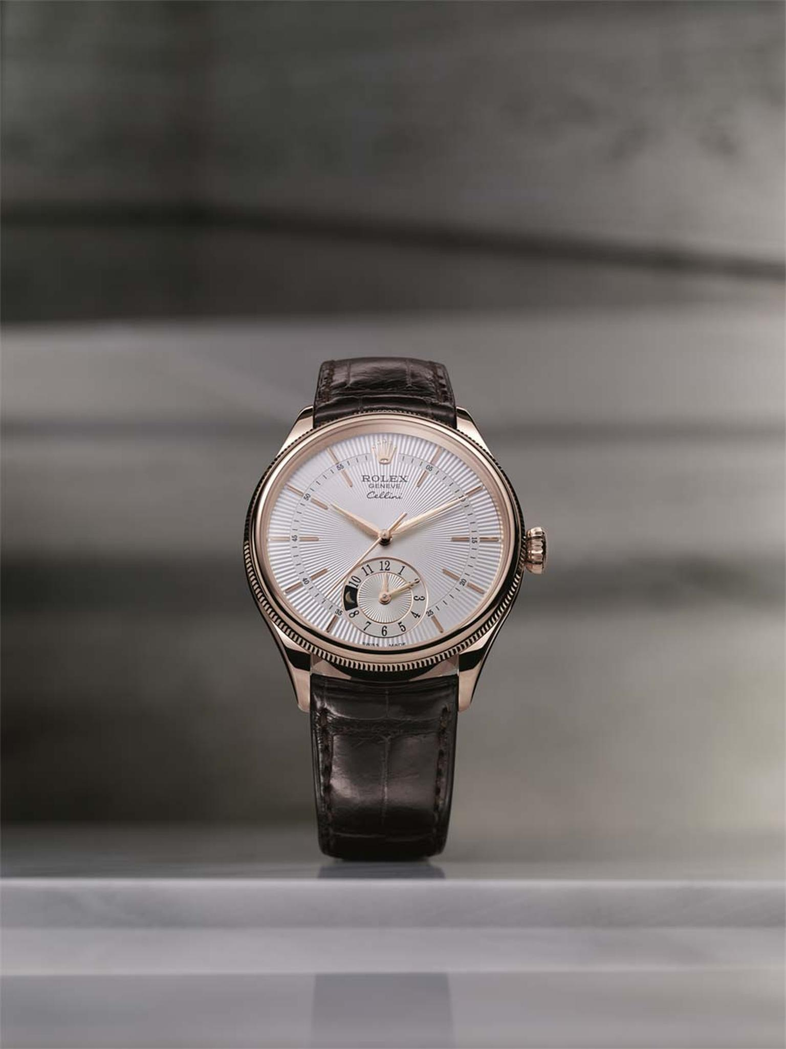 The Rolex Cellini Dual Time indicates the time in two time zones, with a 'sun and moon' day/night indicator at 6 o'clock