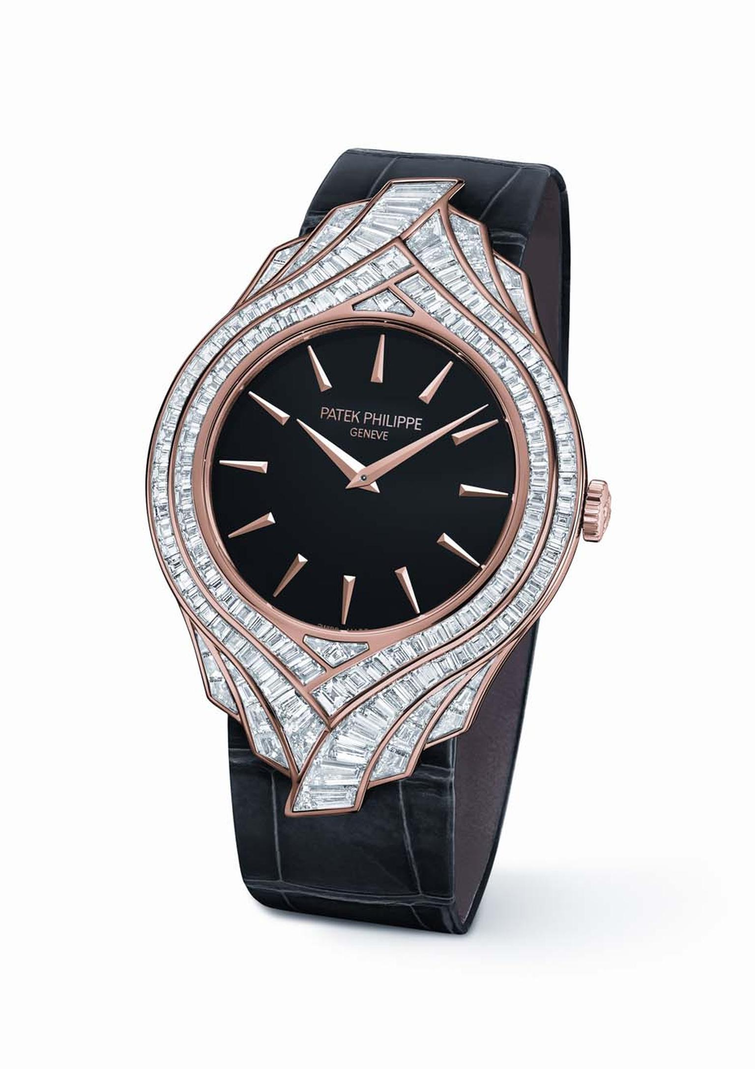 Patek Philippe's Calatrava Haute Joaillere Ref. 4895R watch in rose gold, with a black lacquered dial, rose gold hour markers, takes the contours of the 1932 Calatrava model and adorns them with a diamond collar