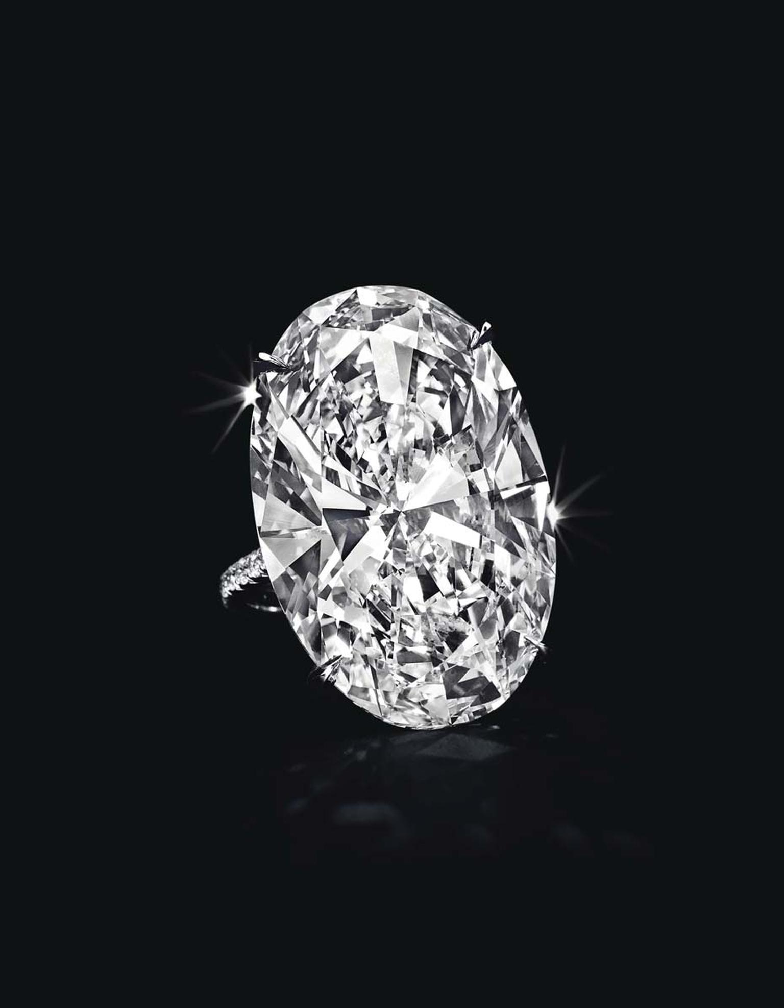 Lot 107, a spectacular diamond and platinum ring, set with an oval-cut diamond weighing approximately 40.43ct, D colour, VVS1 clarity, with excellent polish and excellent symmetry (estimate: $5.8-7.8 million)