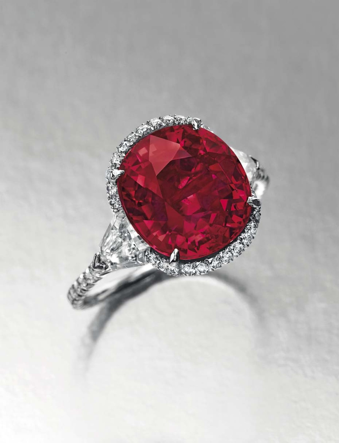 Lot 129, a 6.25ct cushion-cut Burmese ruby and diamond ring, from the private collection of animal rights campaigner Riki Shaw