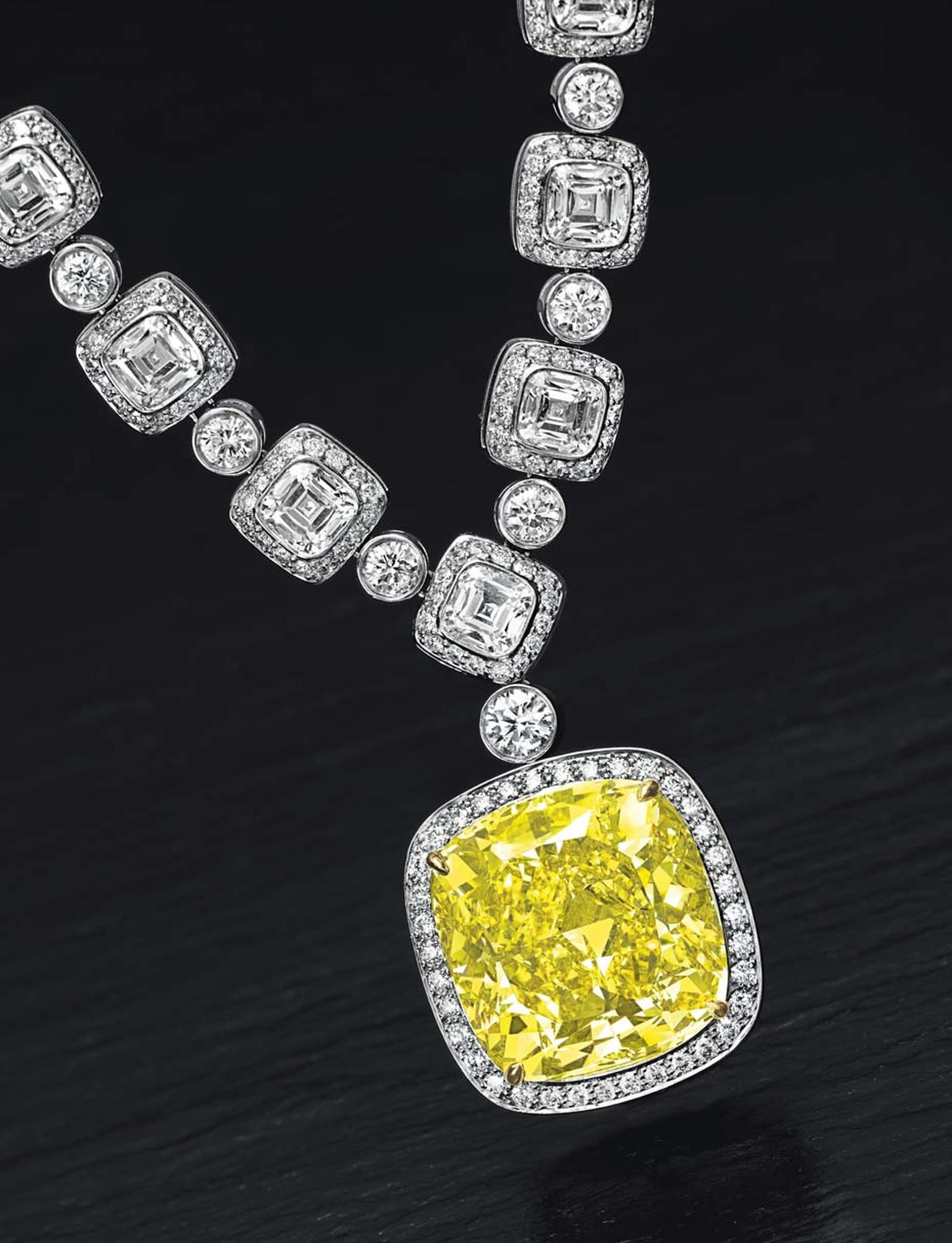 Lot 211, an important coloured diamond and diamond pendant necklace by Tiffany & Co in platinum and gold, set with a modified cushion-cut fancy vivid yellow diamond weighing approximately 20.34ct (estimate: US$1-1.5 million)