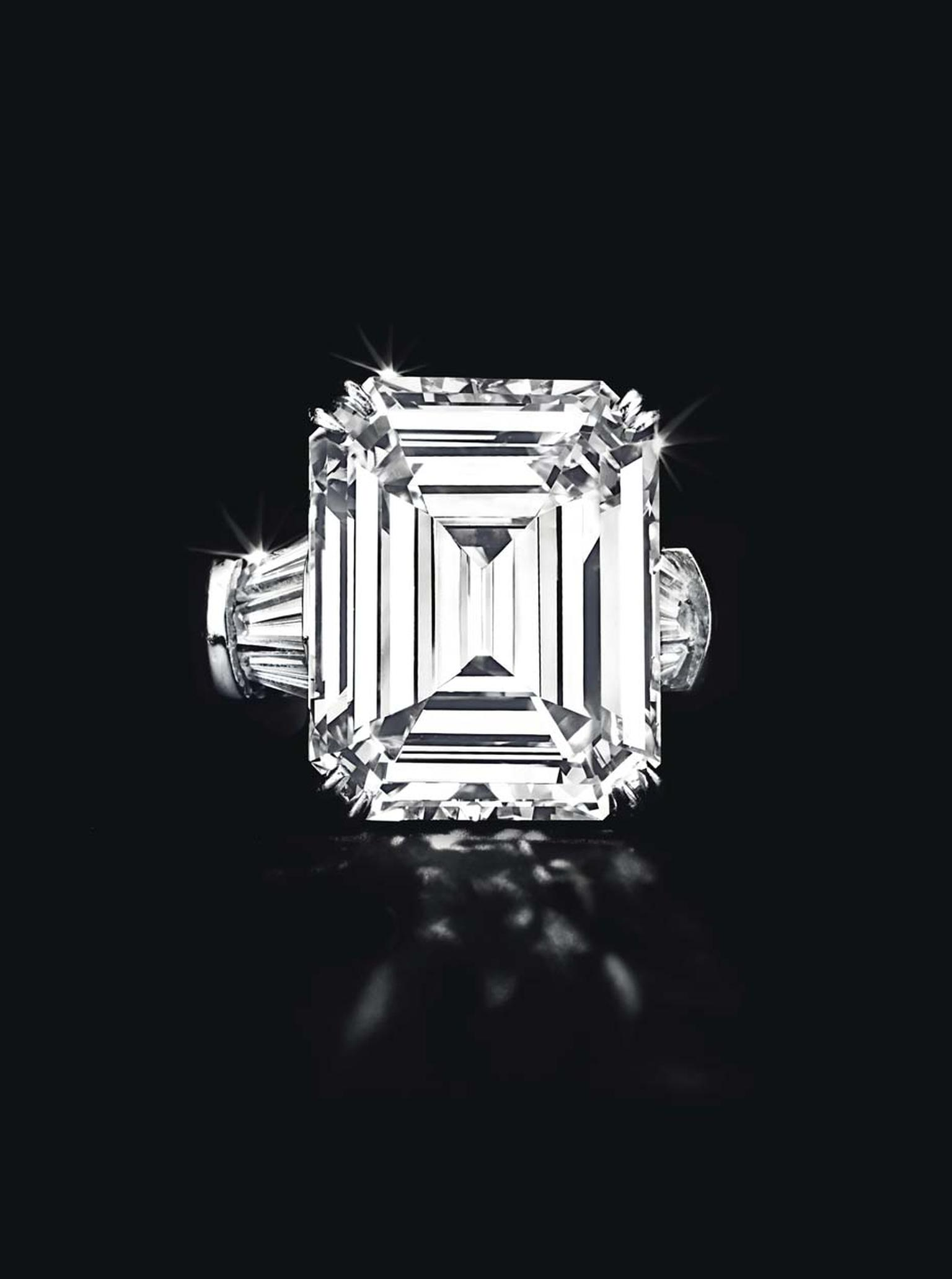 Lot 249, an important diamond ring by Harry Winston, set with a 20.10ct rectangular-cut diamond, flanked by baguette-cut diamonds, mounted in platinum (US$2-3 million)
